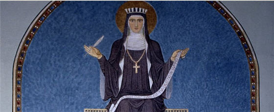 a portrait drawing of Sister Hildegard von Bingen